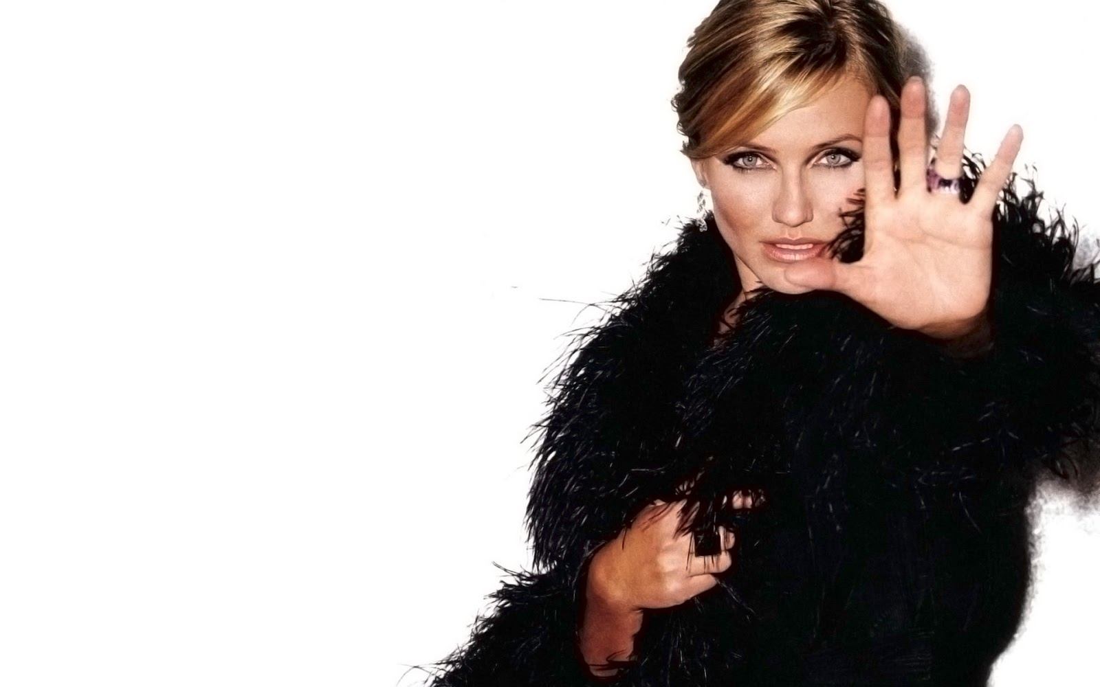 Cameron Diaz Black Fur Coat
