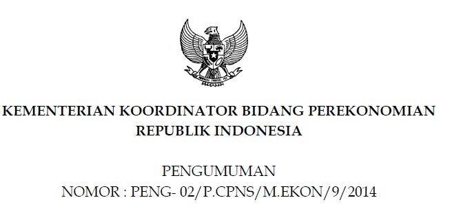 Hasil Seleksi Administrasi dan Hasil Akhir CPNS 2014 Kementerian Koordinator Bidang Perekonomian