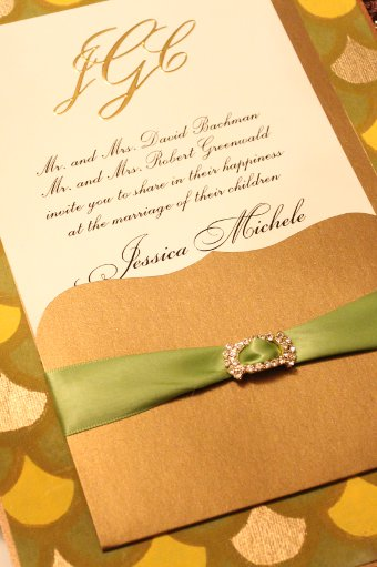 The Green and Yellow pattern for an Indian Wedding Invitation designed by