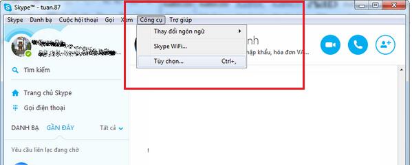 Tùy chọn đường dẫn lưu file trong Skype
