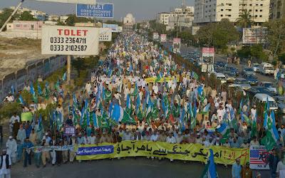 JI, Tehreek-e-Insaf (PTI), Jamaat-e-Islami-JI, Rally, Karachi, Pakistan, Drone, Attack, Protest, US, Slogan, Imran Khan, Unrest, NATO, Northwest, Political Party, Politician, Politics, Supply, Truck,