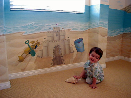 الرسم علي الحوائط والجدران بغرف