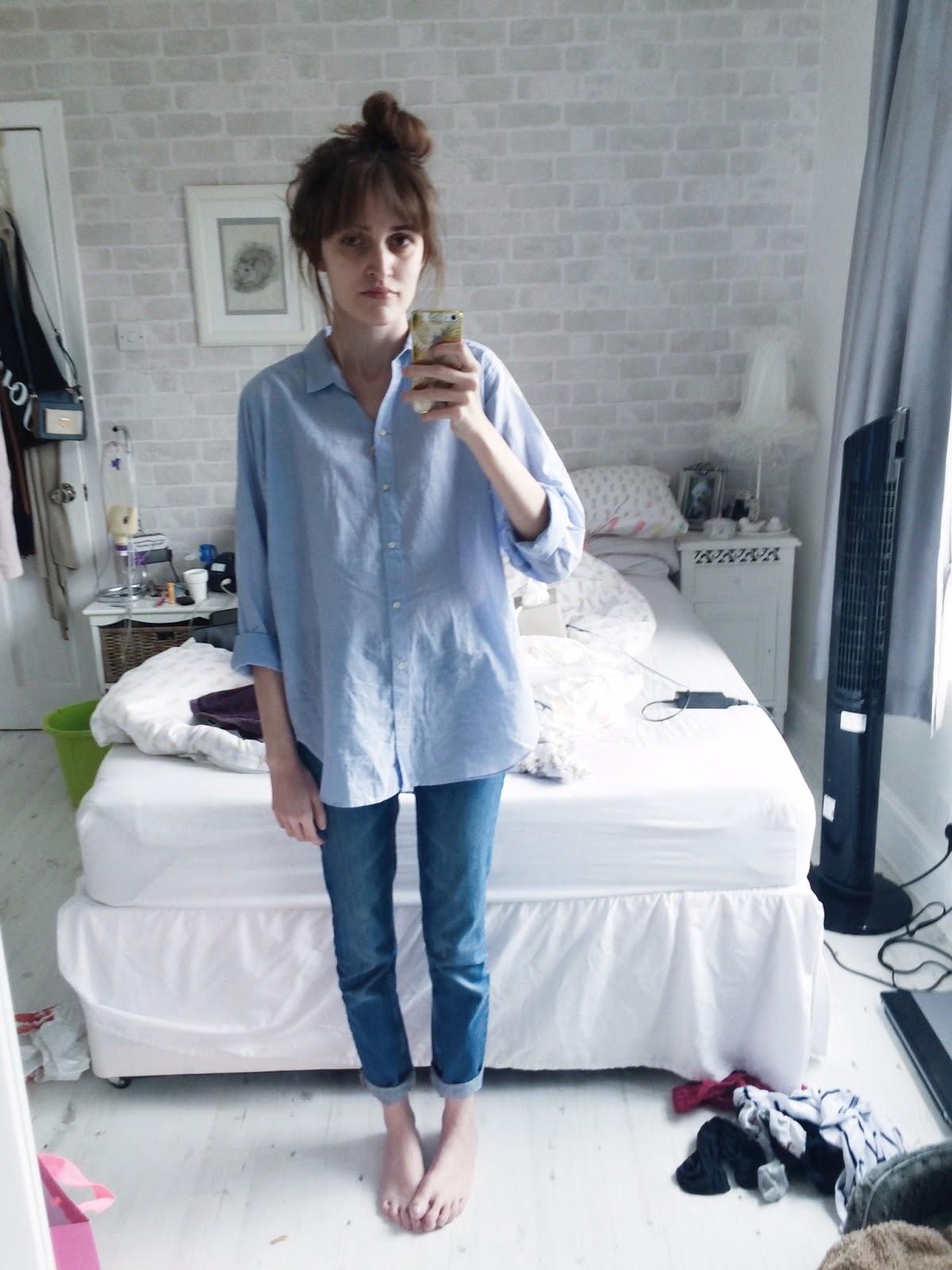 H&M blue cotton shirt oversized