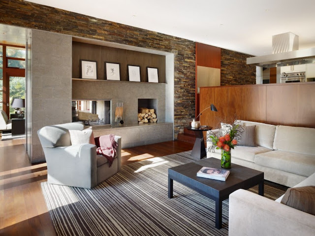 Living room of the Mandeville Canyon Residence