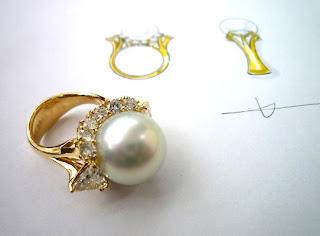 ジュエリーサロンでリスタイル(リメイク)したパールダイヤモンドリング。