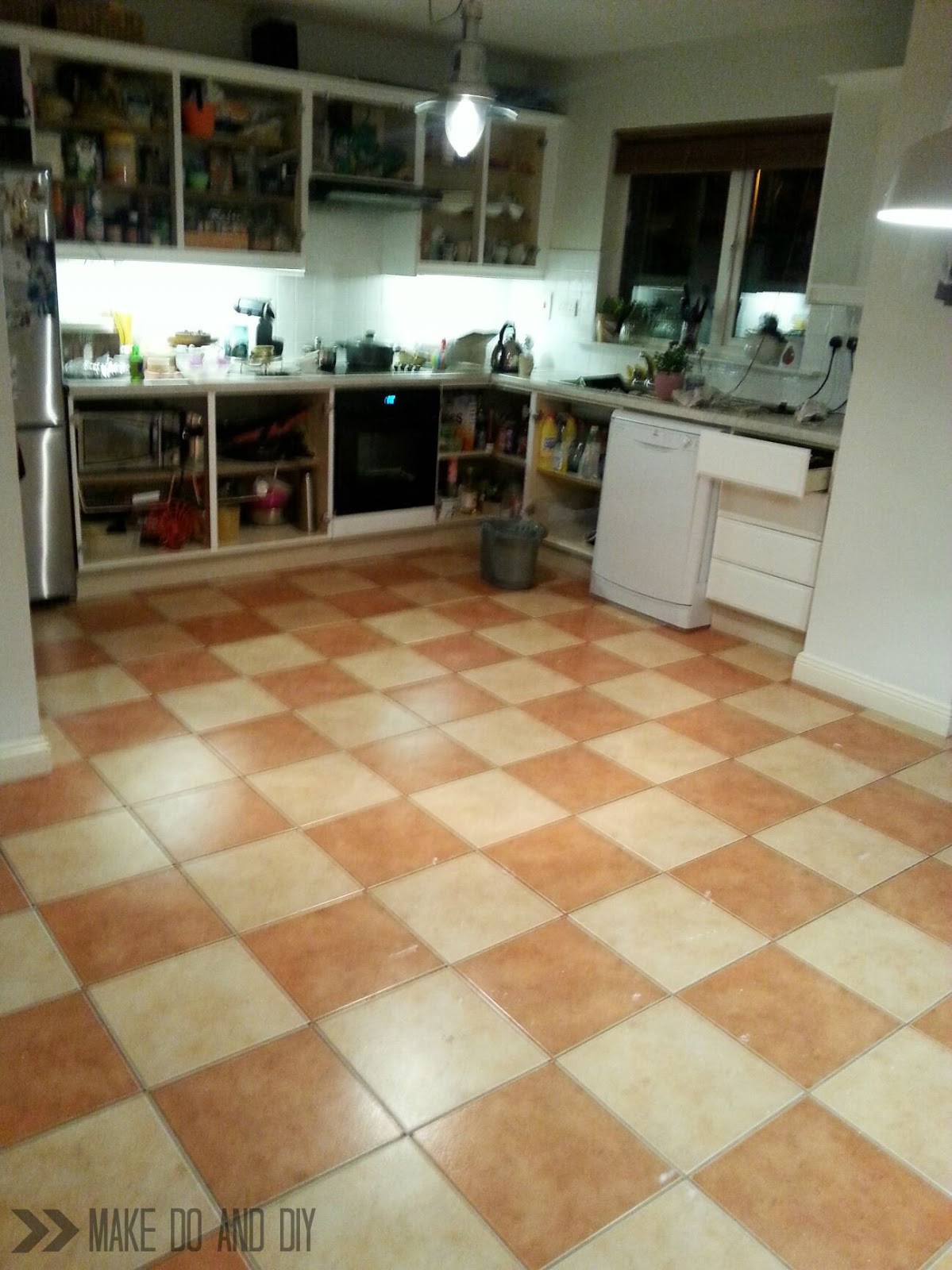 Painted floor tiles