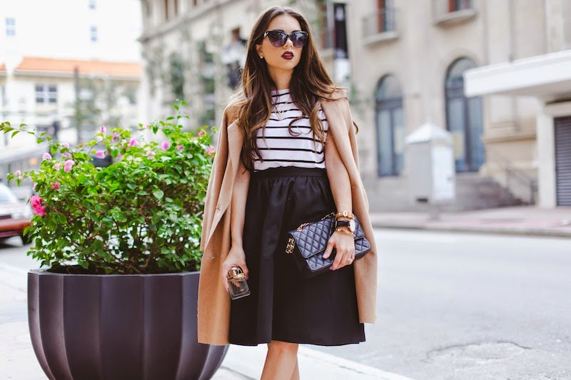 miami fashion blogger, fashion blogger, nany's klozet, daniela ramirez, parisian inspired, midi skirt, camel cape, cat eye sunglasses, striped top, chloe, perfume