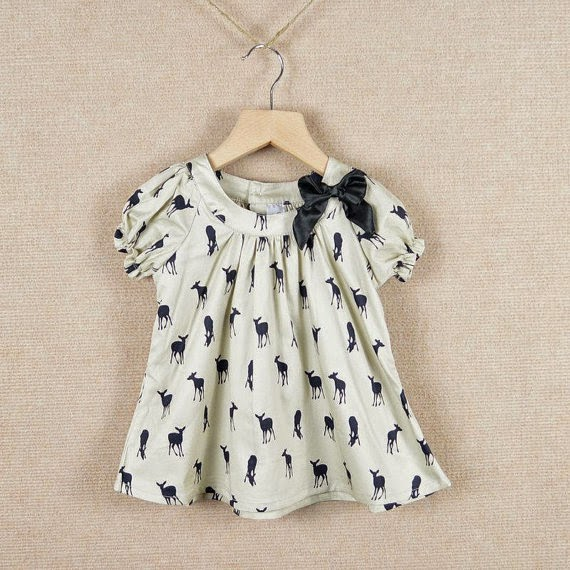 Cream Baby Toddler Girl Cotton Gathered Sleeve Dress with Deer Print and Gathered Neckline and Bow Easter party Birthday Dress