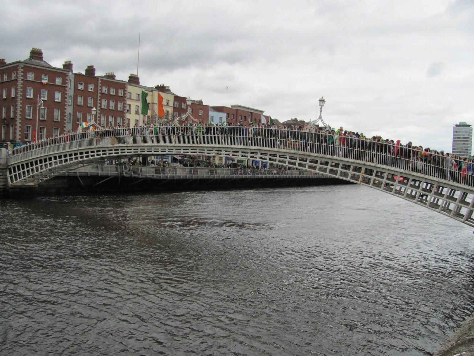 Ha'penny Bridge on St. Patrick's Day Dublin 2014