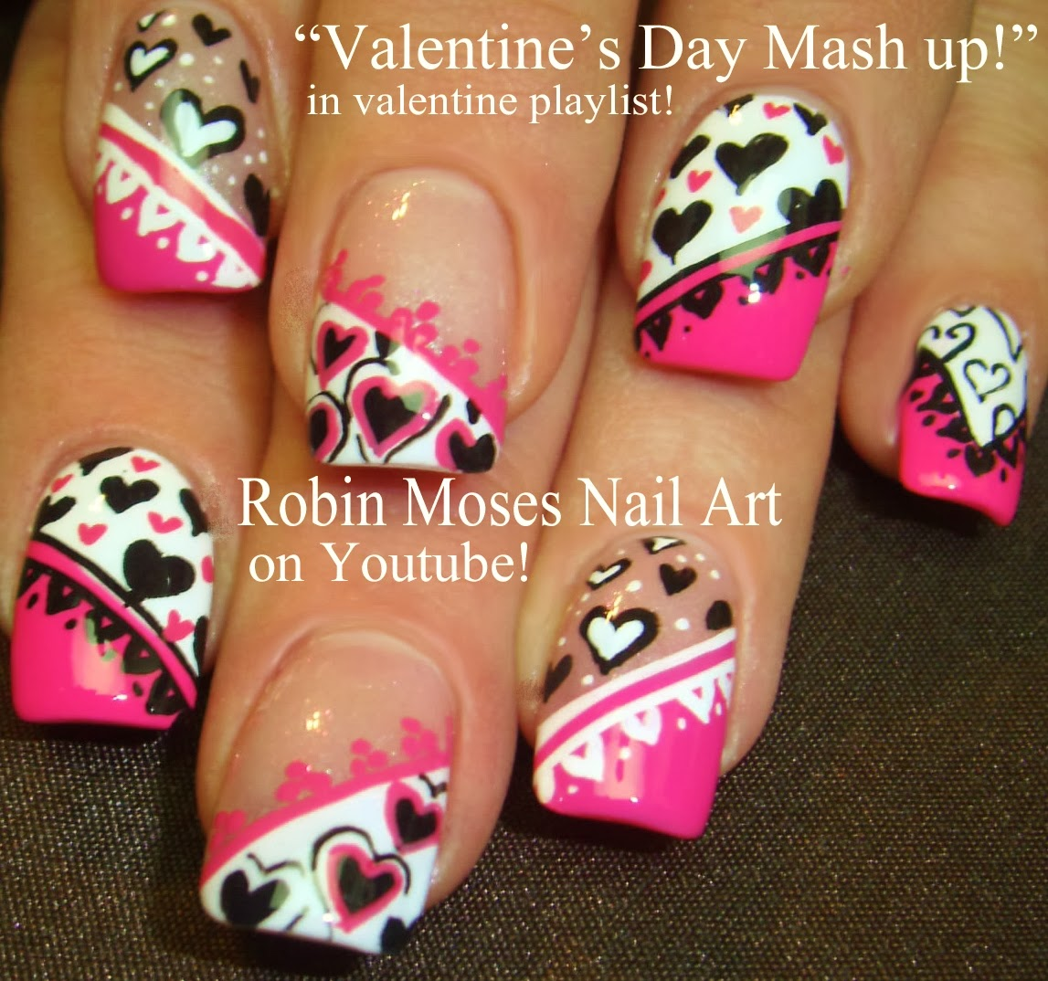 Valentine S Day Nails Nail Art For Ideas Cute Pink And White Hearts Black