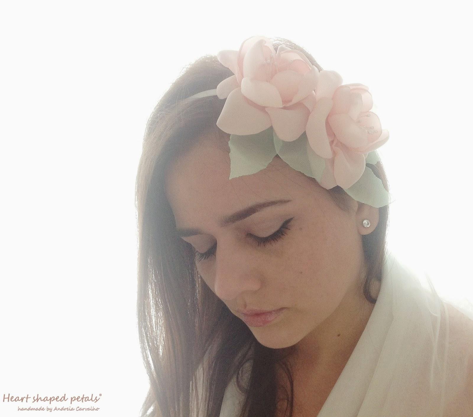 Bridal headband peach flowers
