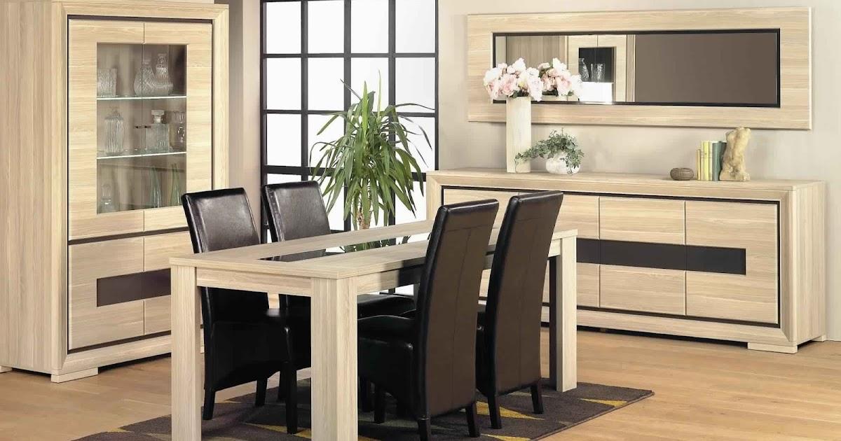 Salle manger compl te en bois massif salle manger for Salon complet conforama