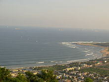 sea coast from top of a hill at Visakhapatnam in India