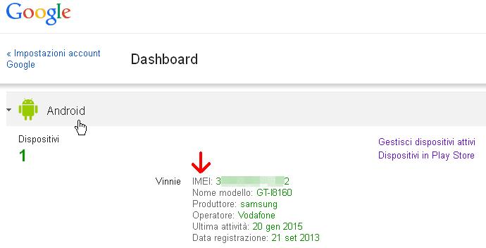 Codice IMEI cellulare Android nell'account Google