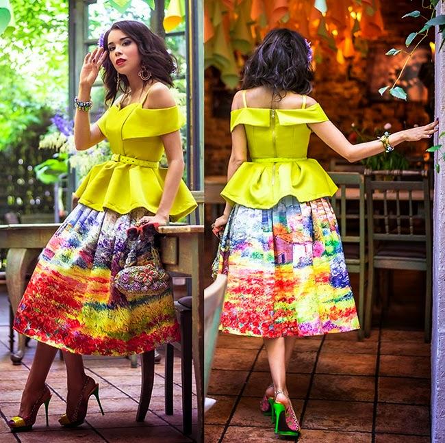 Chic Wish Turn Back Time Scenic Print Midi Circle Skirt