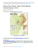 Detailed map of Boko Haram's territorial control in its war with Nigeria, marking and labeling each town reportedly under the group's control in Borno, Yobe, and Adamawa states. Includes recent flashpoints such as Maiduguri, Damataru, Konduga, and Monguno, as well as sites of attacks in Cameroon.