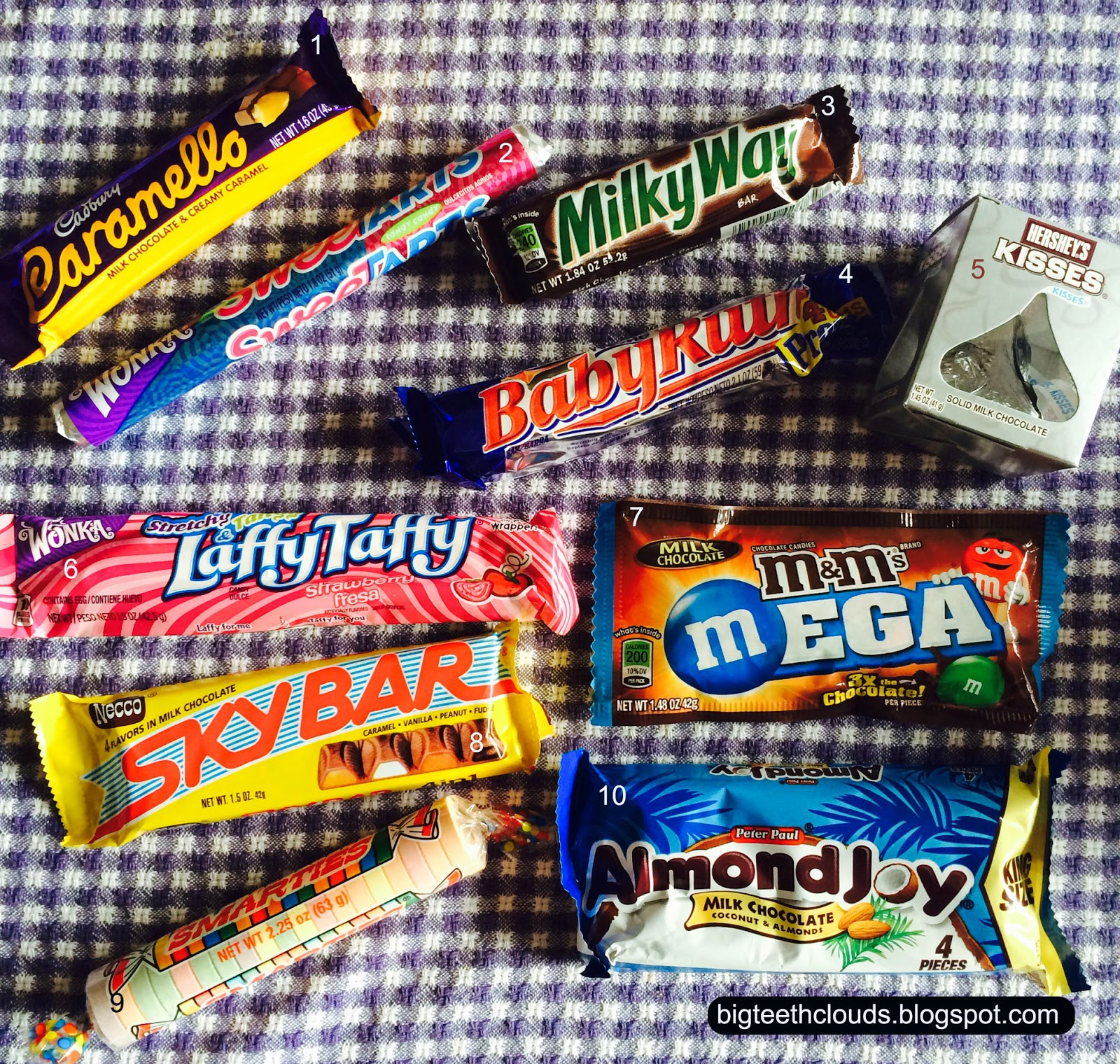Candy bars for recognizing a group of kids: caramello, milky way, baby ruth, laffy taffy, sky, almond joy and more...