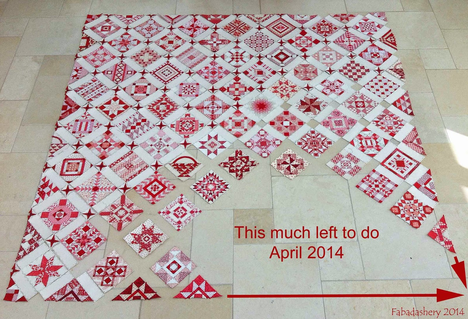 Red and White Nearly Insane Quilt - April 2014