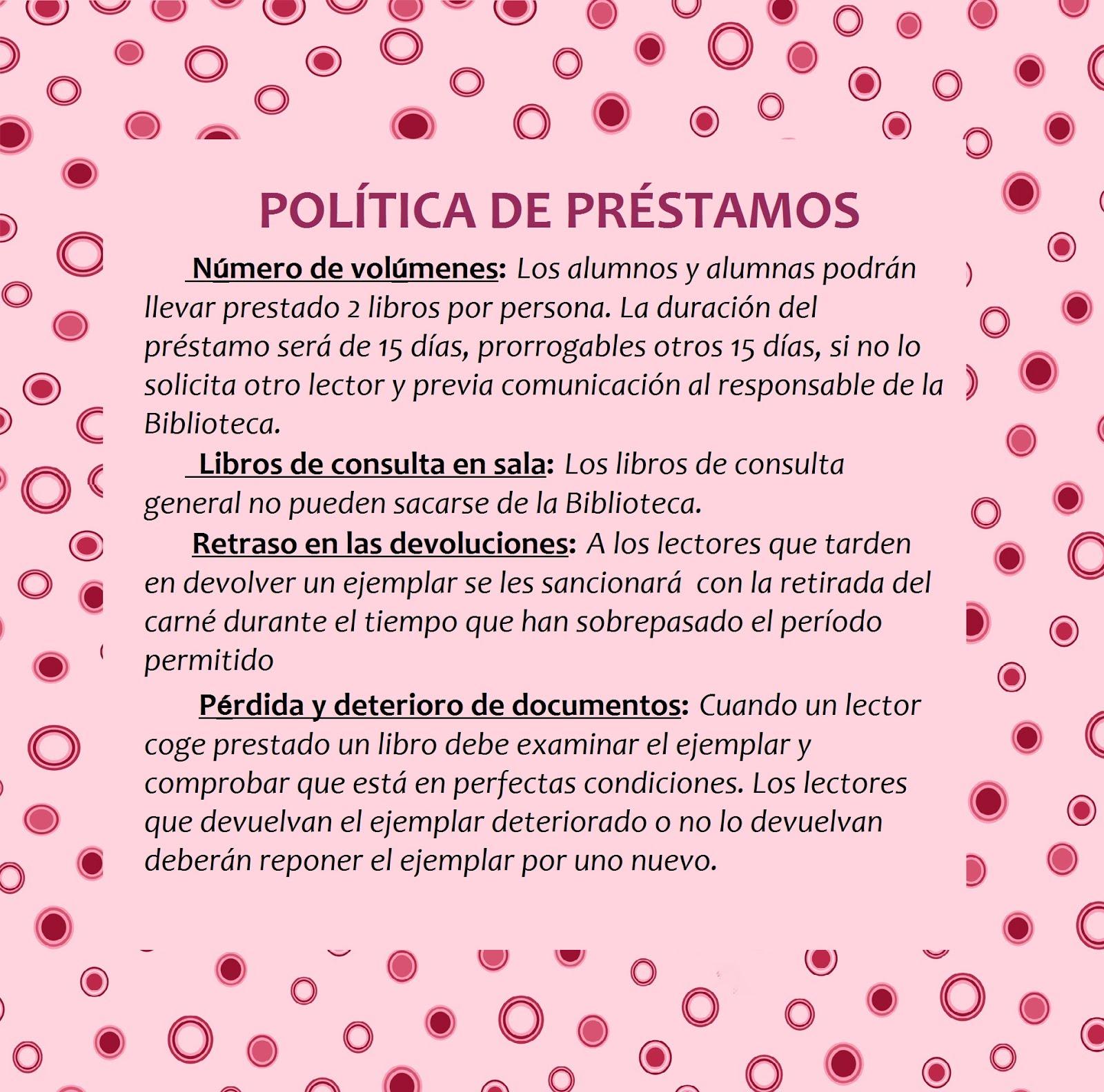 POLÍTICA DE PRÉSTAMOS DEL ALUMNADO