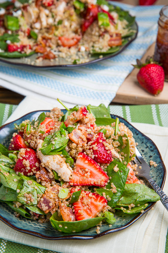 Strawberry BBQ Chicken Spinach and Quinoa Salad with Bacon, Avocado ...