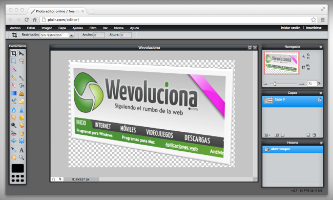 Editor de imágenes online gratis y en español: Pixlr.com