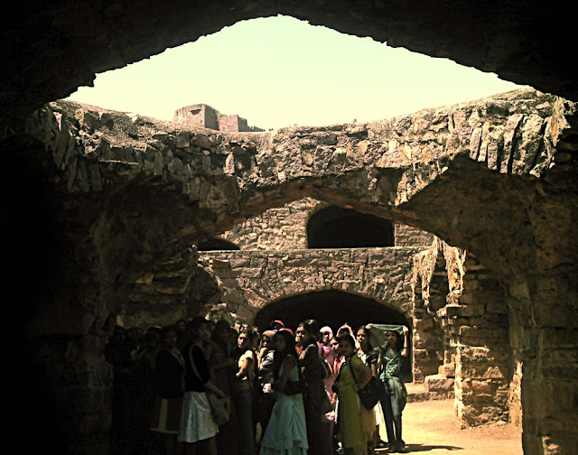 girl tourists at Golconda Fort