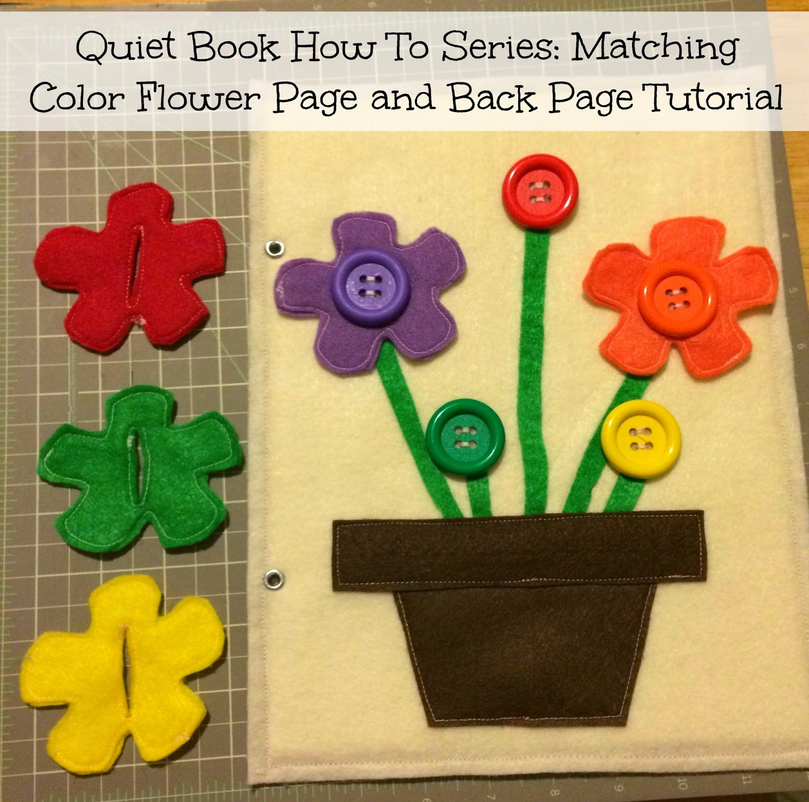 Quiet book how to series matching color flower page and for The idea door quiet book
