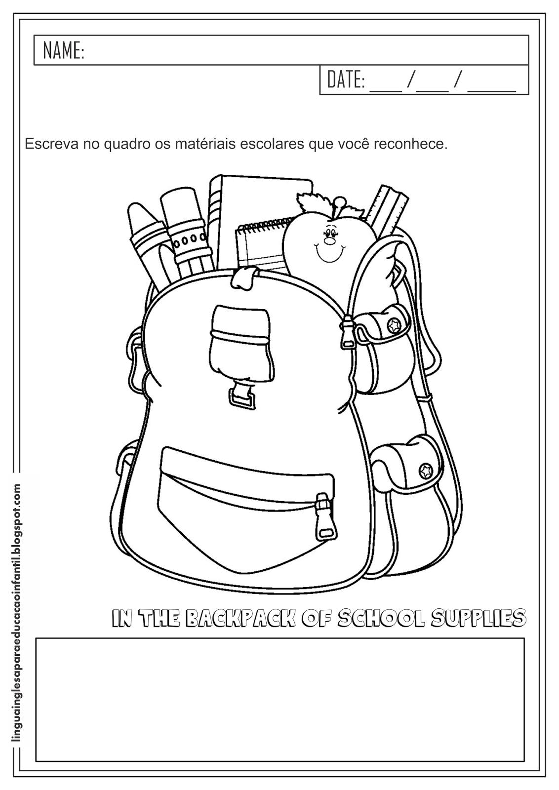 Atividade de inglês - vocabulário escolar para educação infantil