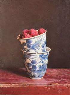 Vasijas de Porcelana con Frutas Bodegones