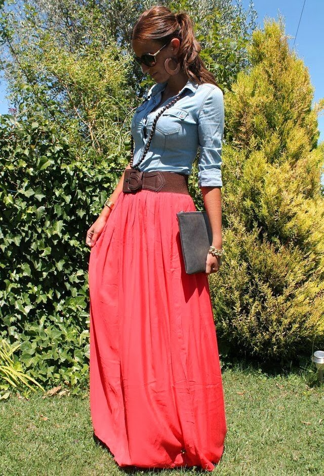 Beautiful Long Pink Skirt with Jeans Sleeve Shirt, Clutch Bag and Accessories