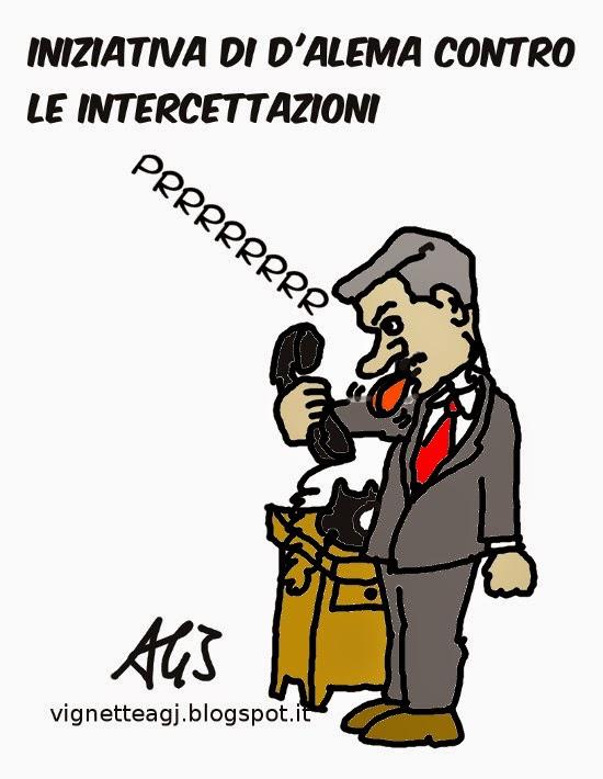 D'Alema, intercettazioni, satira . vignetta
