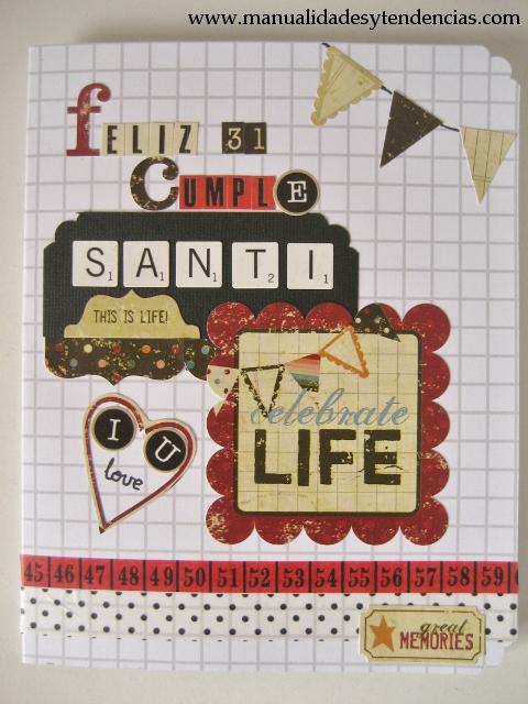 Scrapbooking Tarjeta de cumpleaños chico / Birthday card for a boy / Carte d'anniversaire pour un homme