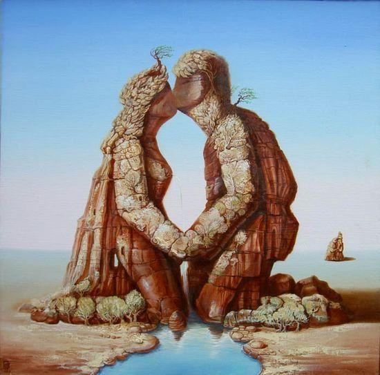 Gennady Privedentsev pinturas arte surreal Amantes de rocha