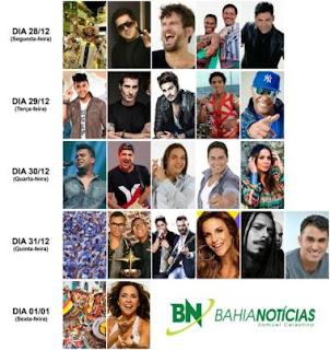 BAHIA: Ivete, Safadão, Jorge e Matheus e Luan Santana são atrações do Réveillon de Salvador