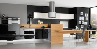 modern black kitchen design with wooden barplot and white cabinets