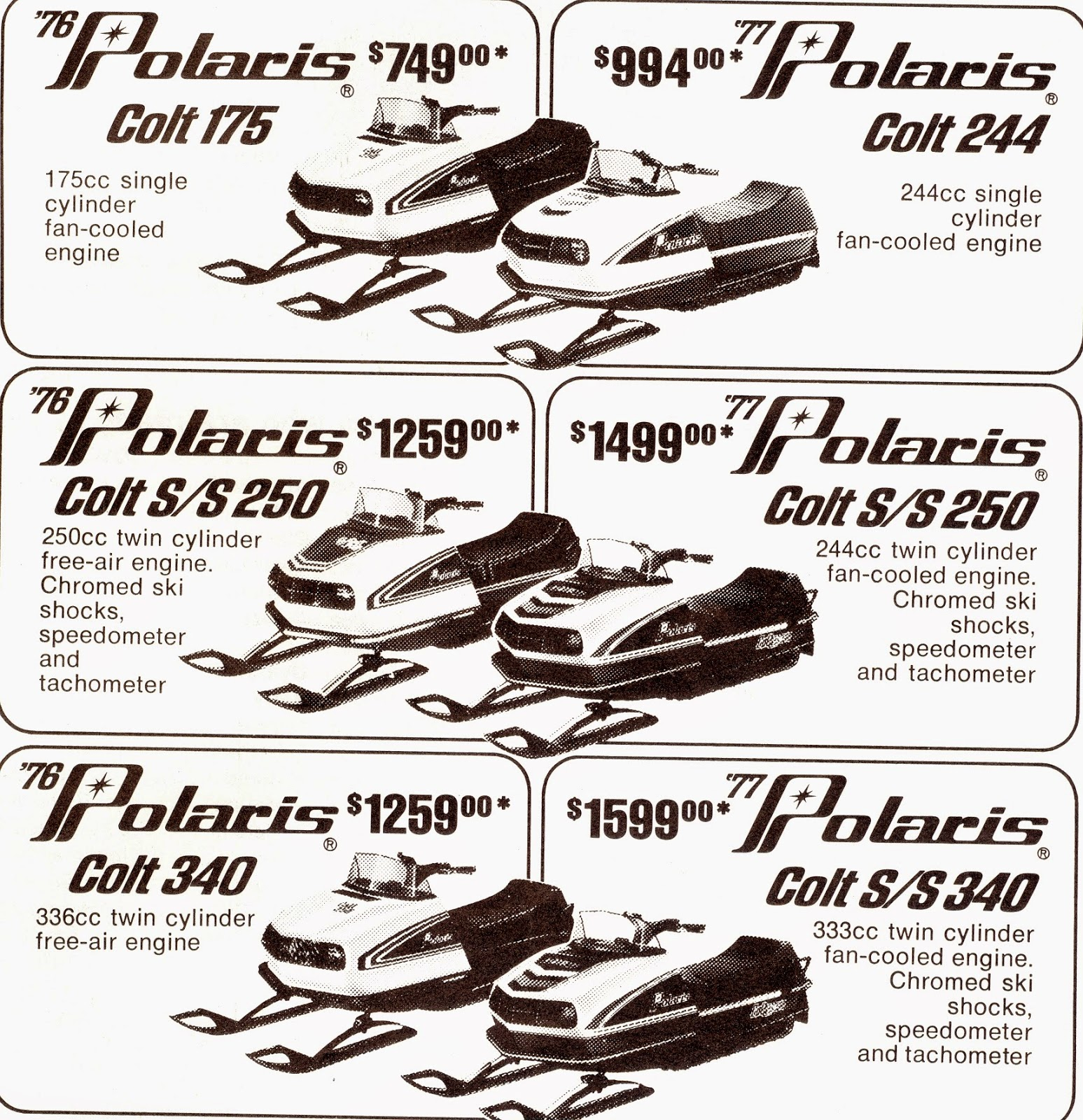 Ski whiz snowmobiles for sale - A Polaris Ad With The Features And Prices Of Their 1976 And1977 Polaris Colt Sleds