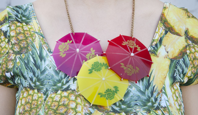 tatty devine, cocktail umbrella necklace, pineapple top, fruits in fashion