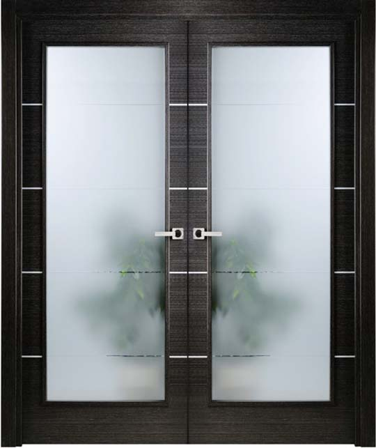 Modern interior bifold doors frosted glass for Double doors with glass