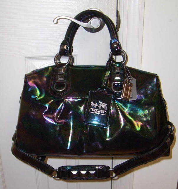 pizza-kei cute pizza kei cute oil slick rainbow bubble fashion look alternative fashion alt-fashion bag leather coach madison tote purse