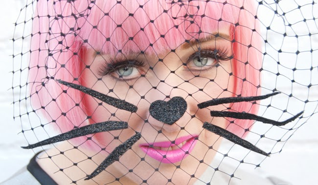 veiled fascinator, cat hat, cat fascinator, pink hair