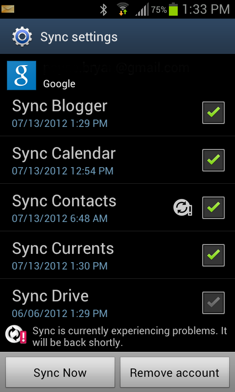 Bryan Payne's Blog: SOLVED: sync is currently experiencing ...