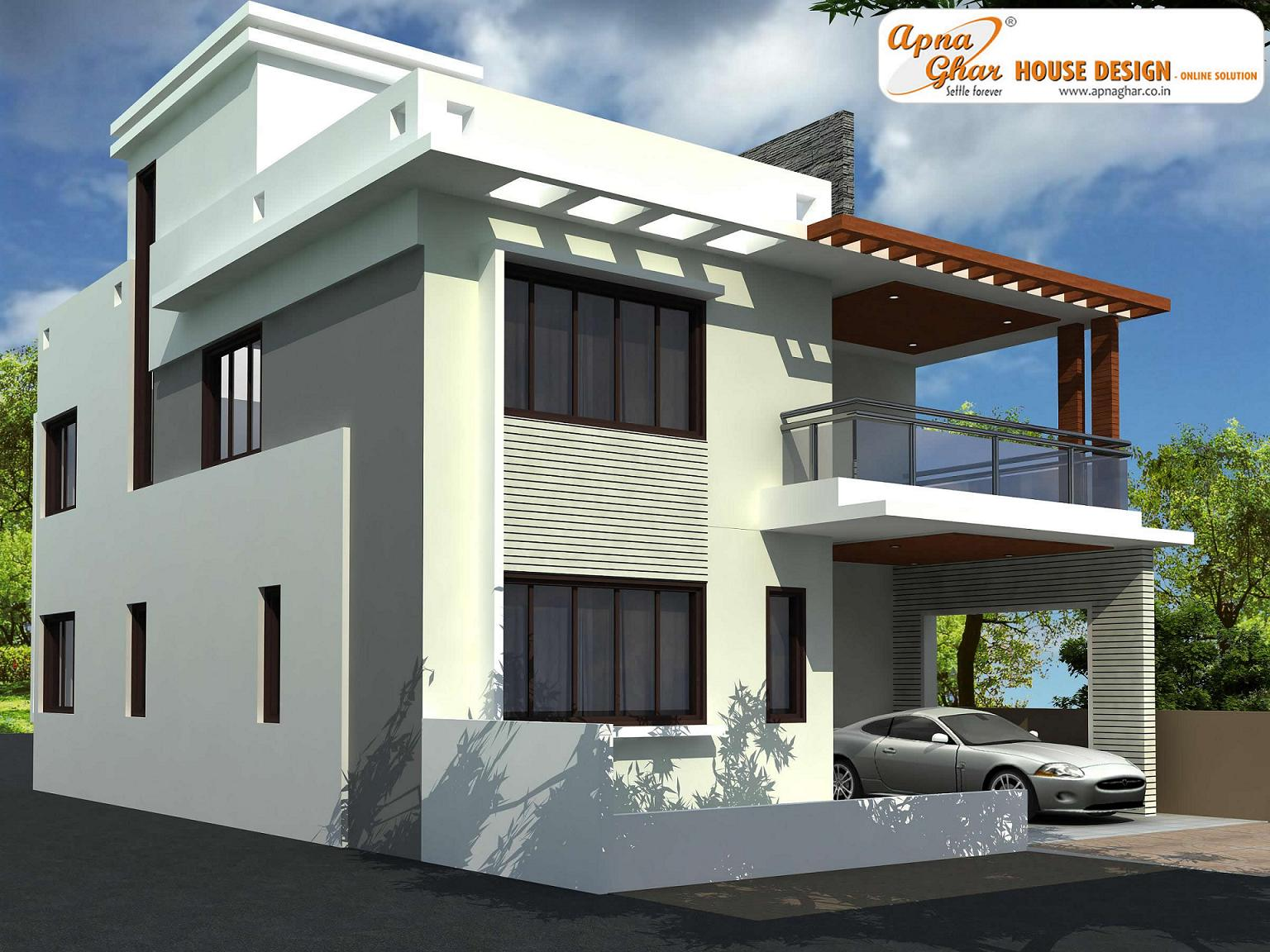 Modern beautiful duplex house design home design elements for Modern duplex house designs