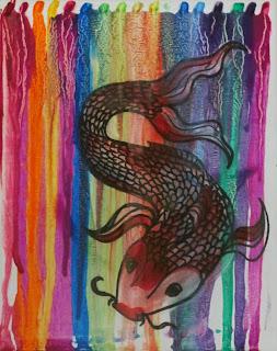 koi crayon art, sarah hipple