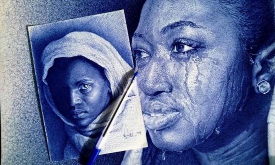 صور مدهشة مرسومة فقط بقلم الحبر الأزرق الجاف