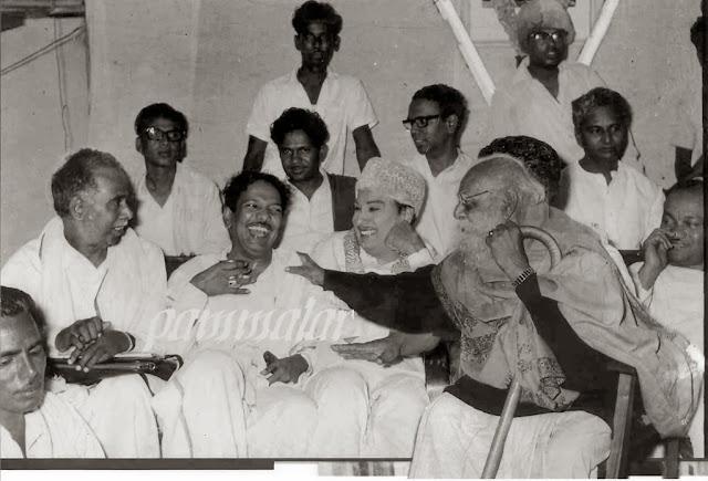 MGR with 'Arignar' Annadurai, 'Kalaignar' karunanithi & 'Thanthai' Periyar in a Party Meeting