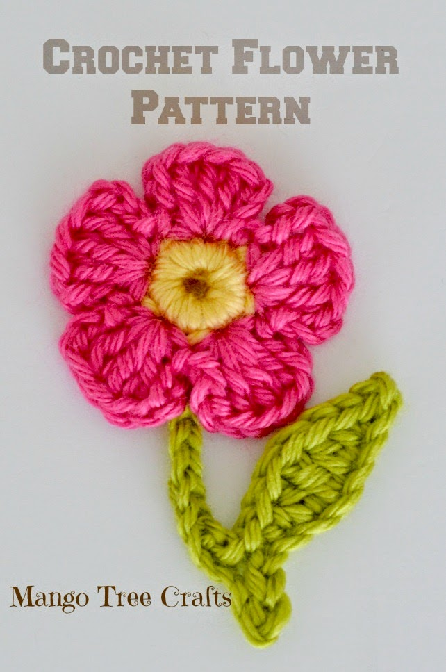 Make Crochet Flower Pattern : Mango Tree Crafts: Free Crochet Flower Applique Pattern