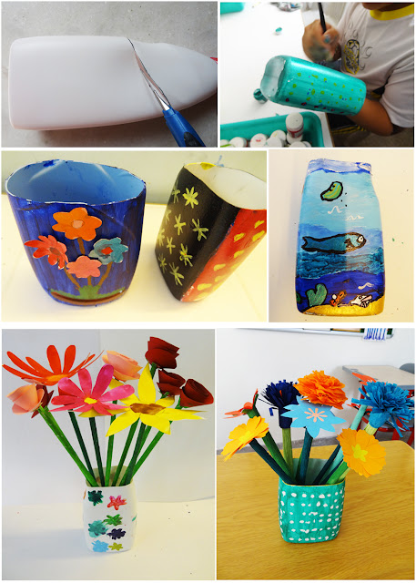 Art with children flower vase out of plastic bottle for Plastic bottle vase craft