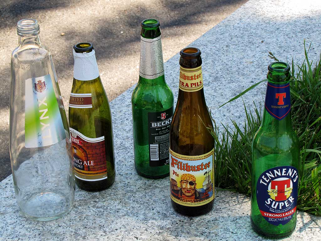 Empty bottles of beer and water, Livorno