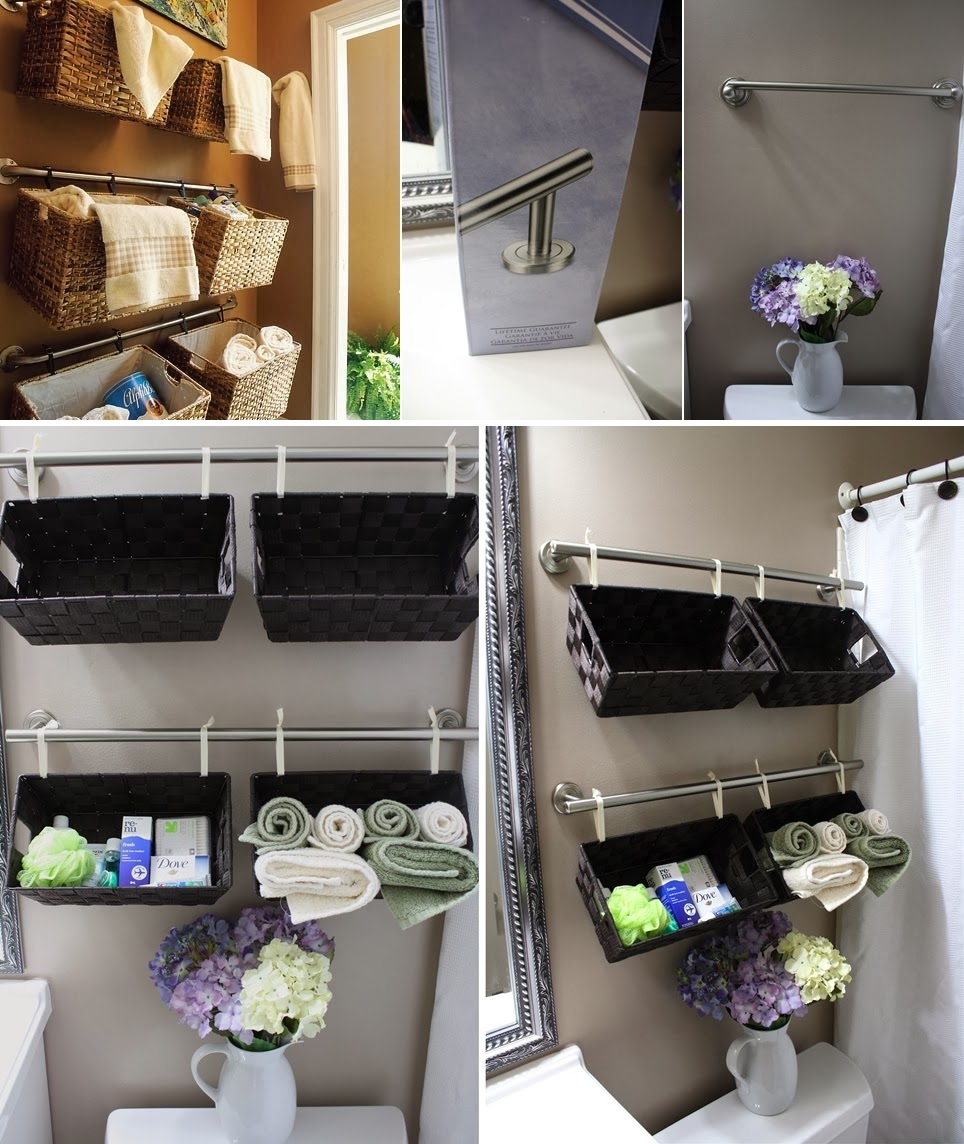 Diy wall full of baskets bathroom storage idea diy craft for Bathroom wall decor ideas diy