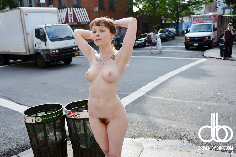 Woman nude in public place